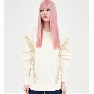 ZARA Sweatshirt with Rope Detail, Sz M, Cream
